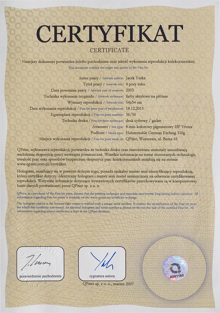 Yerka giclee certificate sample