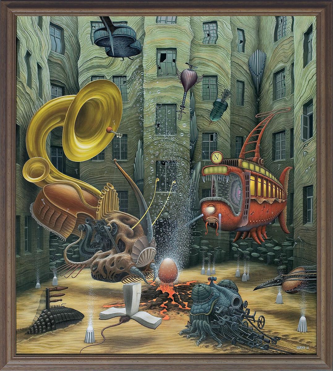 Jacek Yerka, Life is born, acrylic, 92x81 cm